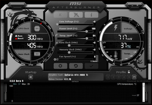 Interface du logiciel d'overcloaking gpu MSI Afterburner