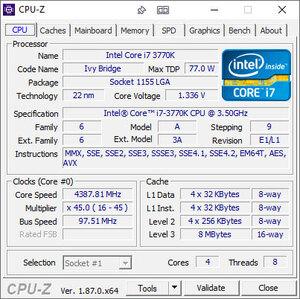 Screenshot de l'interface Mumble CPU-Z