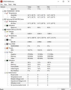 Screenshot de l'interface HWMonitor