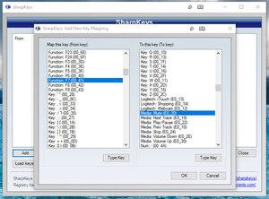 Screenshot de l'interface Sharpkeys